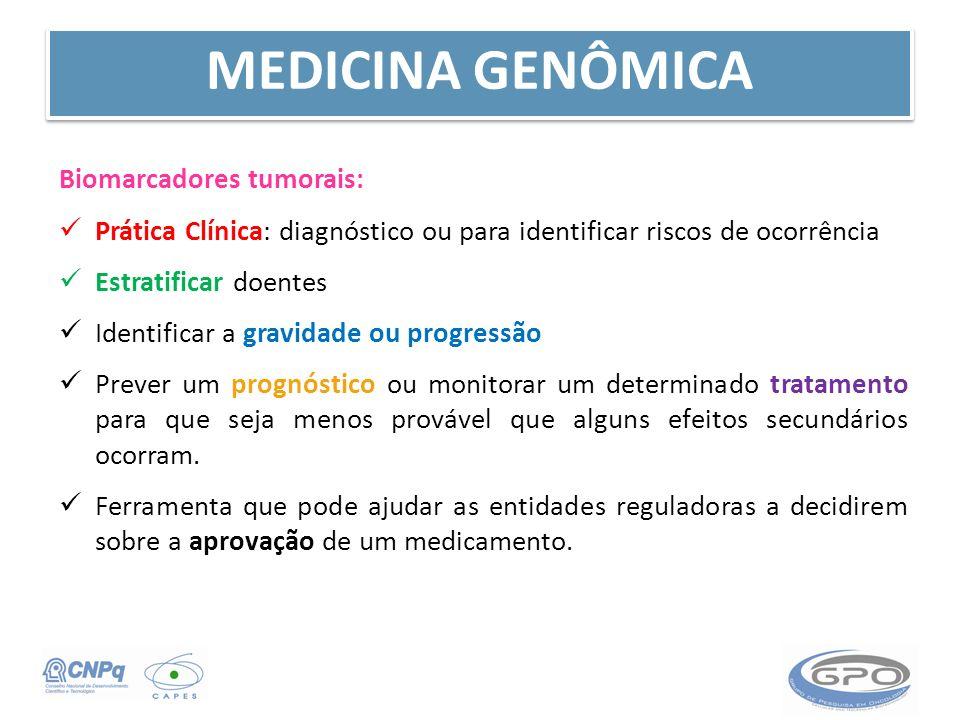 Biomarcadores tumorais: Prática Clínica: diagnóstico ou para identificar riscos de ocorrência Estratificar doentes Identificar a gravidade ou progress