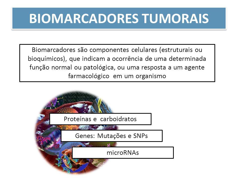 BIOMARCADORES TUMORAIS Biomarcadores são componentes celulares (estruturais ou bioquímicos), que indicam a ocorrência de uma determinada função normal