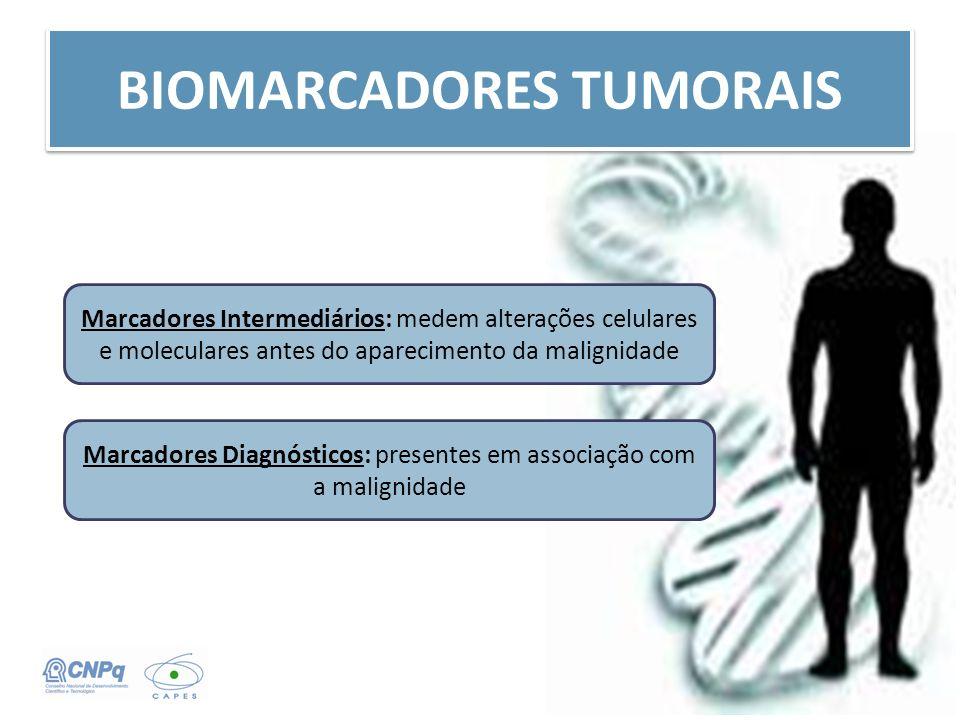 BIOMARCADORES TUMORAIS Marcadores Intermediários: medem alterações celulares e moleculares antes do aparecimento da malignidade Marcadores Diagnóstico