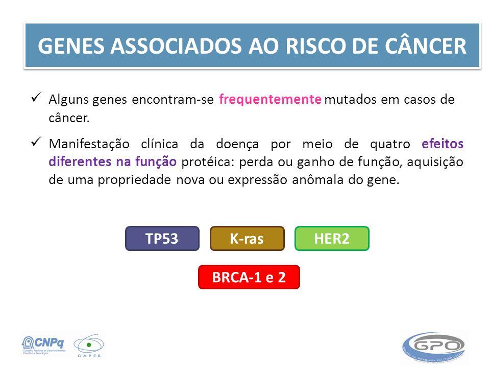 GENES ASSOCIADOS AO RISCO DE CÂNCER Alguns genes encontram-se frequentemente mutados em casos de câncer. Manifestação clínica da doença por meio de qu