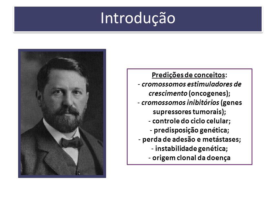 Introdução Predições de conceitos: - cromossomos estimuladores de crescimento (oncogenes); - cromossomos inibitórios (genes supressores tumorais); - c