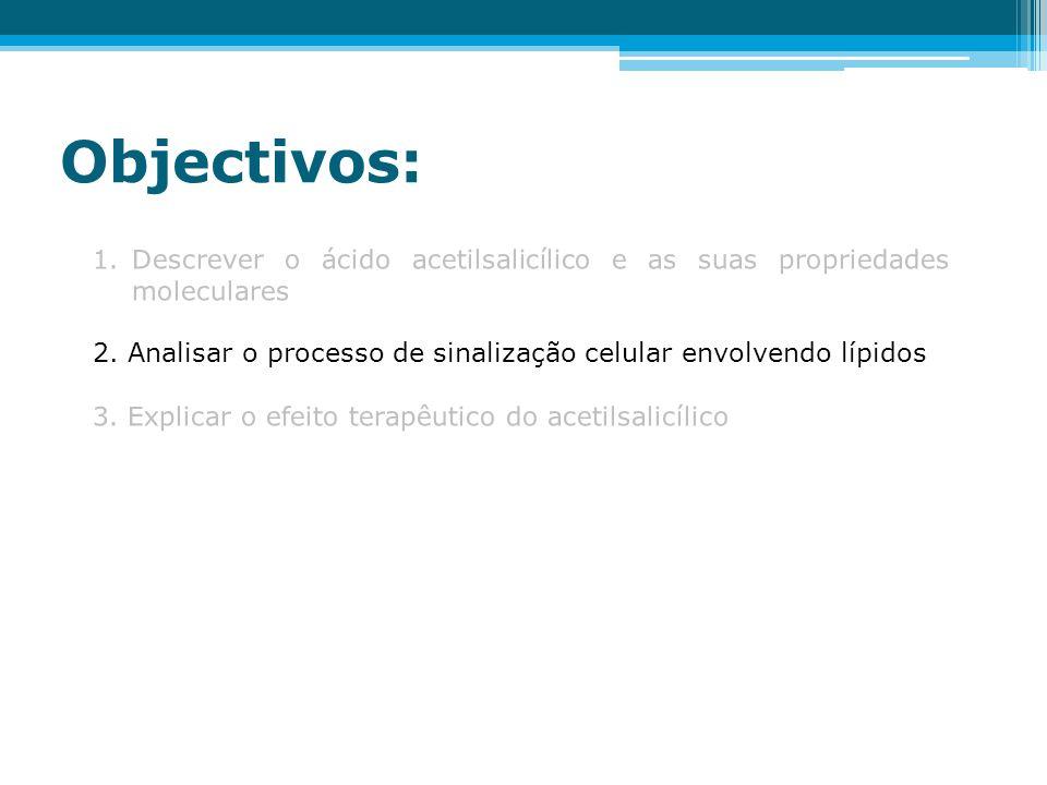 Objectivos: 1.Descrever o ácido acetilsalicílico e as suas propriedades moleculares 2. Analisar o processo de sinalização celular envolvendo lípidos 3