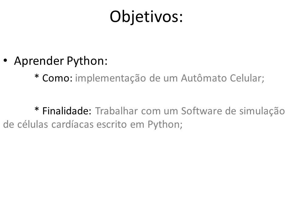Objetivos: Aprender Python: * Como: implementação de um Autômato Celular; * Finalidade: Trabalhar com um Software de simulação de células cardíacas es