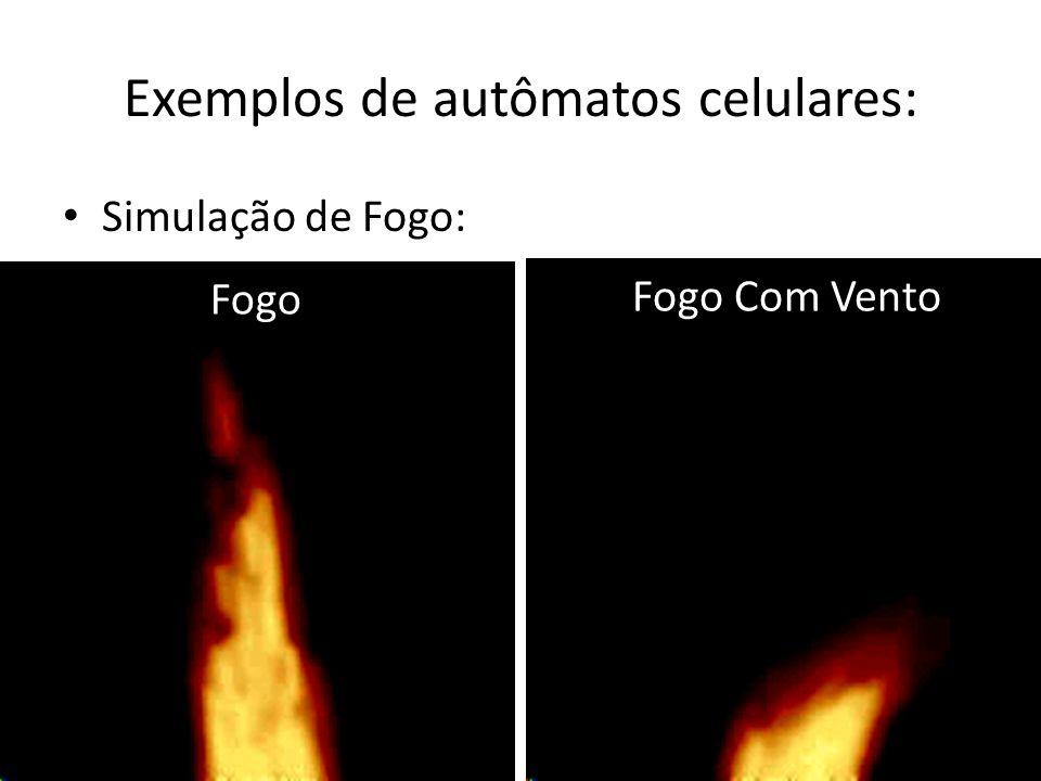 Exemplos de autômatos celulares: Simulação de Fogo: Fogo Fogo Com Vento