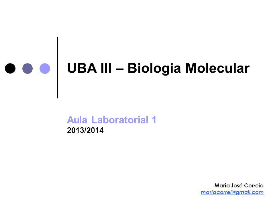 UBA-III Biologia Molecular 2013/2014 Fenol/Clorofórmio/Álcool isoamílico Fenol e clorofórmio desnaturam as proteínas Fase fenólica (proteínas em solução) separa-se da fase aquosa (DNA) Precipitação com etanol absoluto (ou isopropanol) Insolubilidade do DNA em etanol Presença de catiões monovalentes Precipitação diferencial