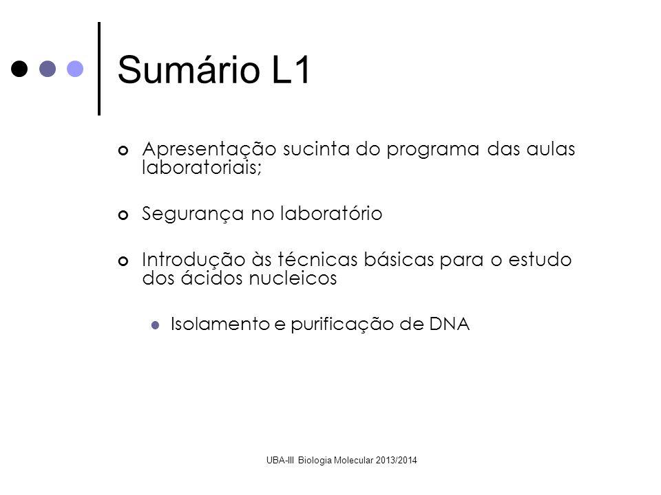 UBA-III Biologia Molecular 2013/2014 Sumário L1 Apresentação sucinta do programa das aulas laboratoriais; Segurança no laboratório Introdução às técni