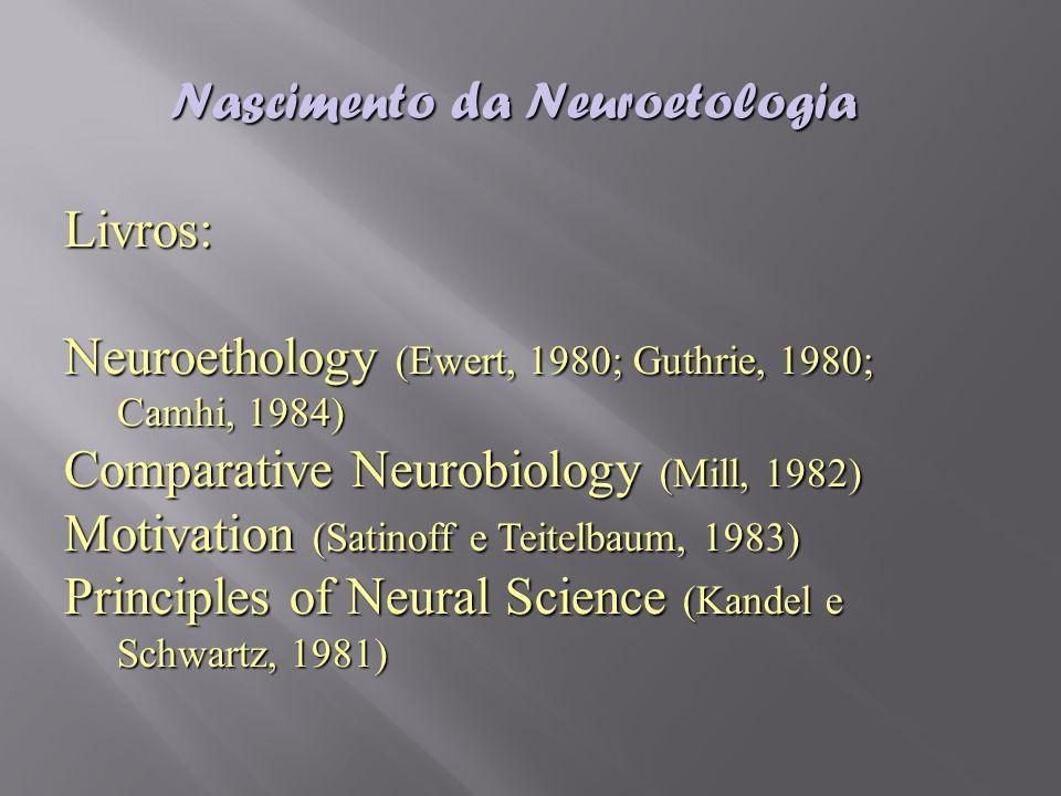 Nascimento da Neuroetologia Livros: Neuroethology (Ewert, 1980; Guthrie, 1980; Camhi, 1984) Comparative Neurobiology (Mill, 1982) Motivation (Satinoff