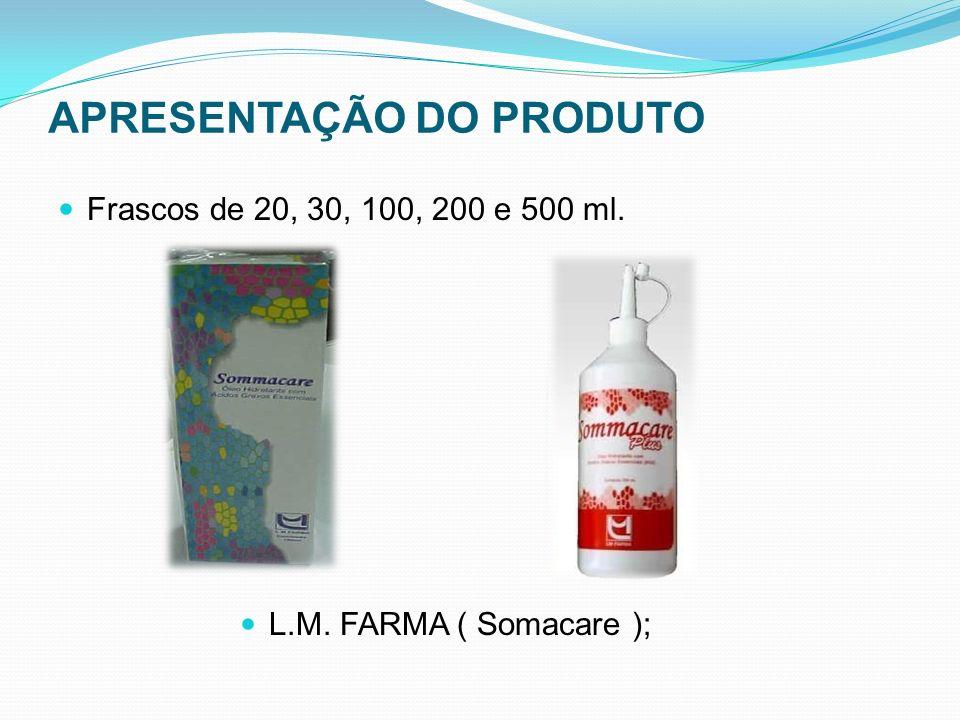APRESENTAÇÃO DO PRODUTO Frascos de 20, 30, 100, 200 e 500 ml. L.M. FARMA ( Somacare );