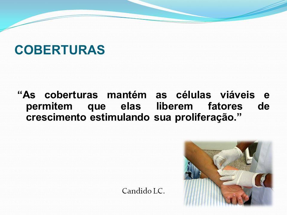 COBERTURAS As coberturas mantém as células viáveis e permitem que elas liberem fatores de crescimento estimulando sua proliferação. Candido LC.