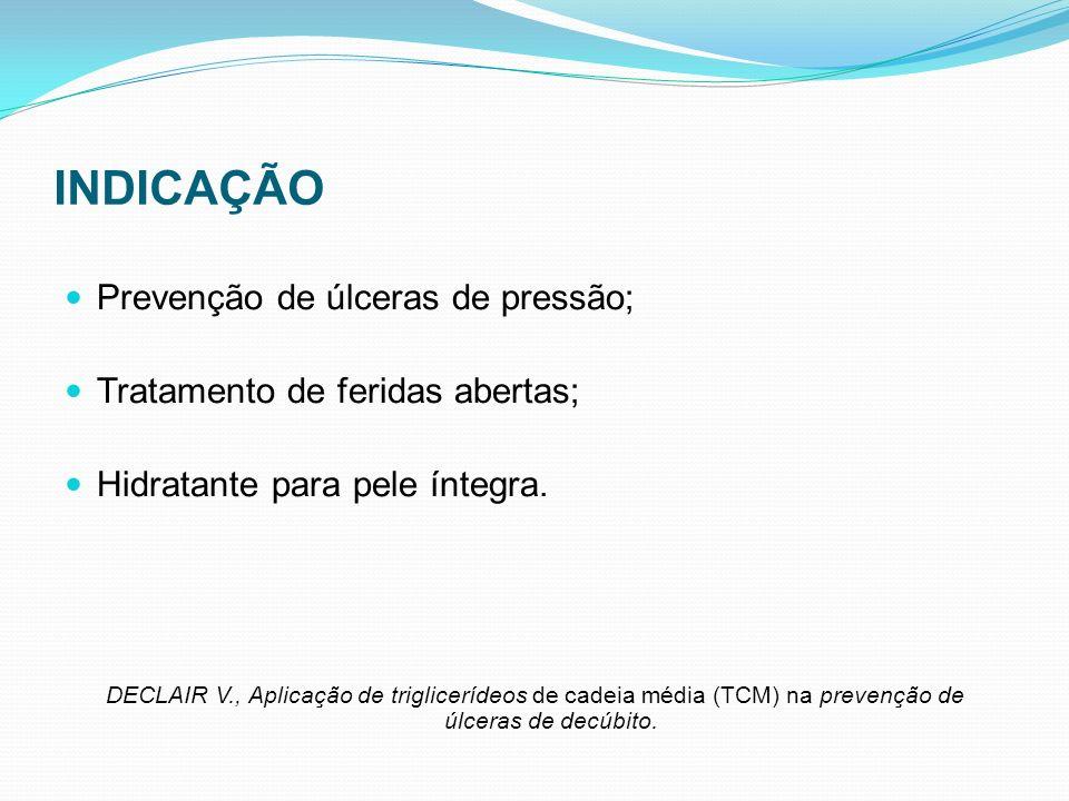 INDICAÇÃO Prevenção de úlceras de pressão; Tratamento de feridas abertas; Hidratante para pele íntegra. DECLAIR V., Aplicação de triglicerídeos de cad