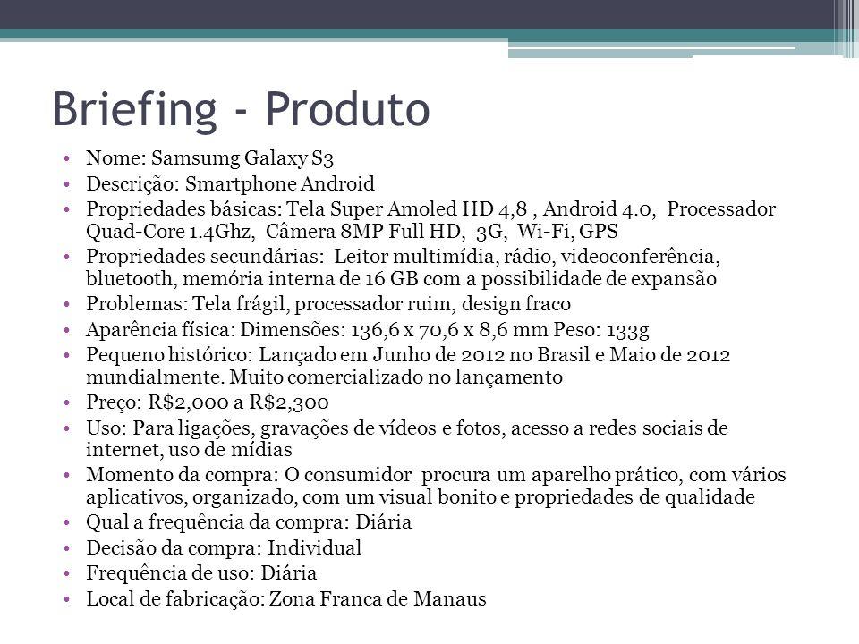 Briefing - Produto Nome: Samsumg Galaxy S3 Descrição: Smartphone Android Propriedades básicas: Tela Super Amoled HD 4,8, Android 4.0, Processador Quad