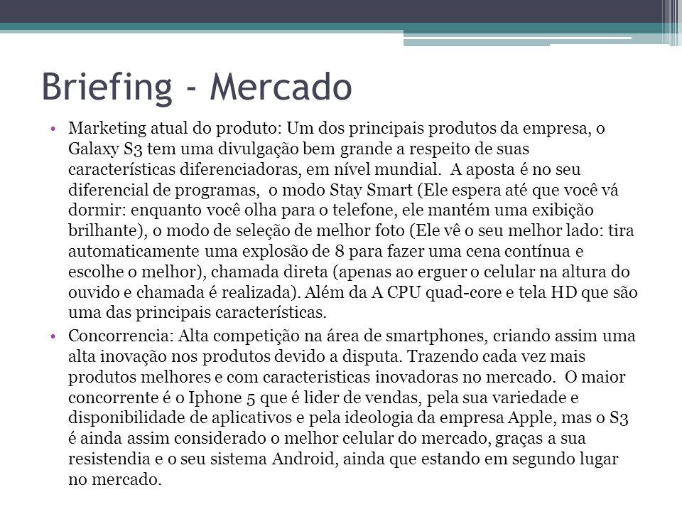 Briefing - Mercado Marketing atual do produto: Um dos principais produtos da empresa, o Galaxy S3 tem uma divulgação bem grande a respeito de suas car
