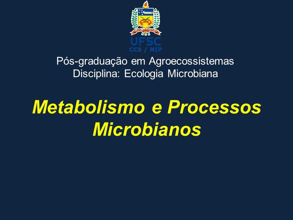 Metabolismo e Processos Microbianos Pós-graduação em Agroecossistemas Disciplina: Ecologia Microbiana