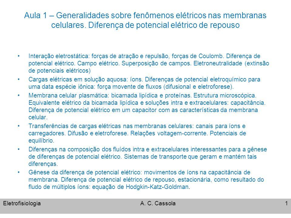 Aula 1 – Generalidades sobre fenômenos elétricos nas membranas celulares. Diferença de potencial elétrico de repouso Interação eletrostática: forças d