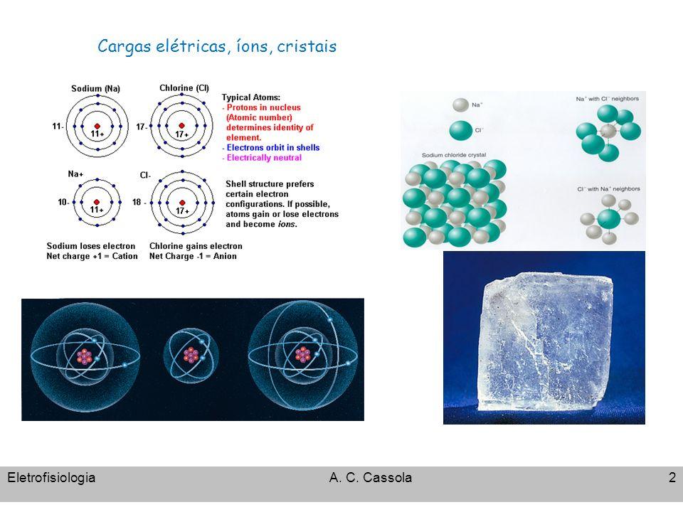 EletrofisiologiaA. C. Cassola2 Cargas elétricas, íons, cristais