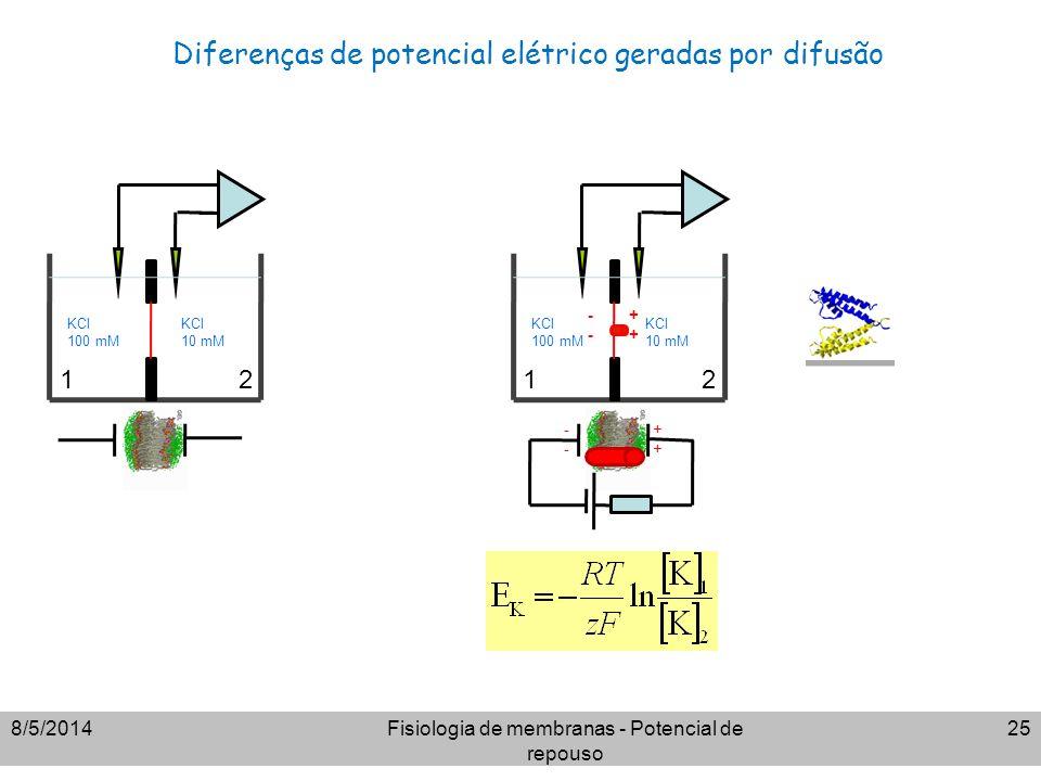 Diferenças de potencial elétrico geradas por difusão 8/5/2014Fisiologia de membranas - Potencial de repouso 25 KCl 100 mM KCl 10 mM KCl 100 mM KCl 10