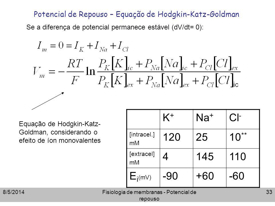 8/5/2014Fisiologia de membranas - Potencial de repouso 33 Potencial de Repouso – Equação de Hodgkin-Katz-Goldman K+K+ Na + Cl - [intracel.] mM 1202510