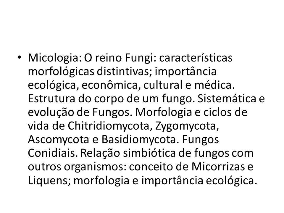 Micologia: O reino Fungi: características morfológicas distintivas; importância ecológica, econômica, cultural e médica. Estrutura do corpo de um fung