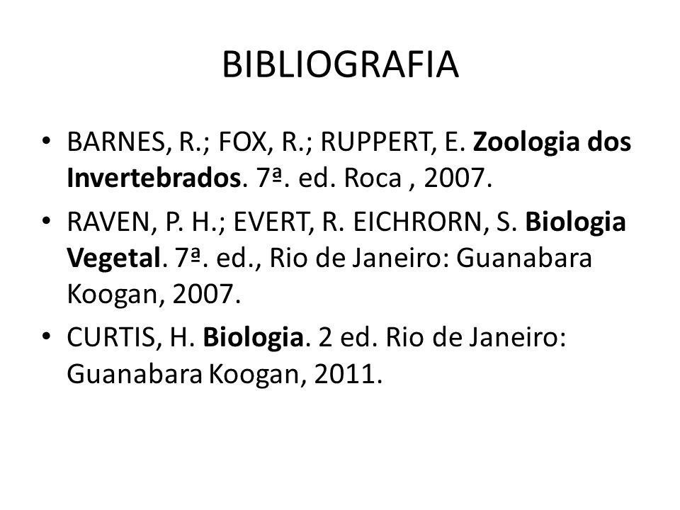BIBLIOGRAFIA BARNES, R.; FOX, R.; RUPPERT, E. Zoologia dos Invertebrados. 7ª. ed. Roca, 2007. RAVEN, P. H.; EVERT, R. EICHRORN, S. Biologia Vegetal. 7