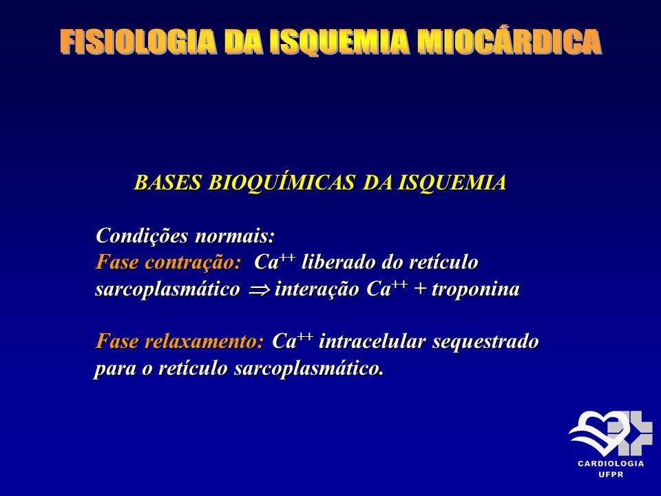 BASES BIOQUÍMICAS DA ISQUEMIA BASES BIOQUÍMICAS DA ISQUEMIA Condições normais: Fase contração: Ca ++ liberado do retículo sarcoplasmático interação Ca