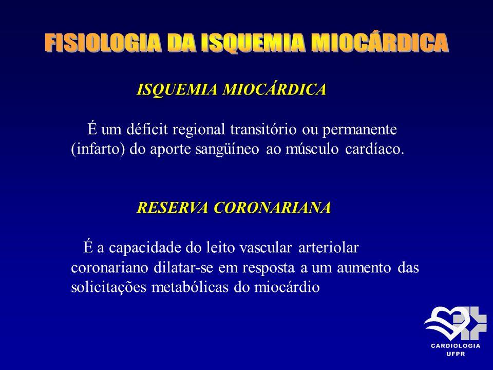 ISQUEMIA MIOCÁRDICA É um déficit regional transitório ou permanente (infarto) do aporte sangüíneo ao músculo cardíaco. RESERVA CORONARIANA É a capacid