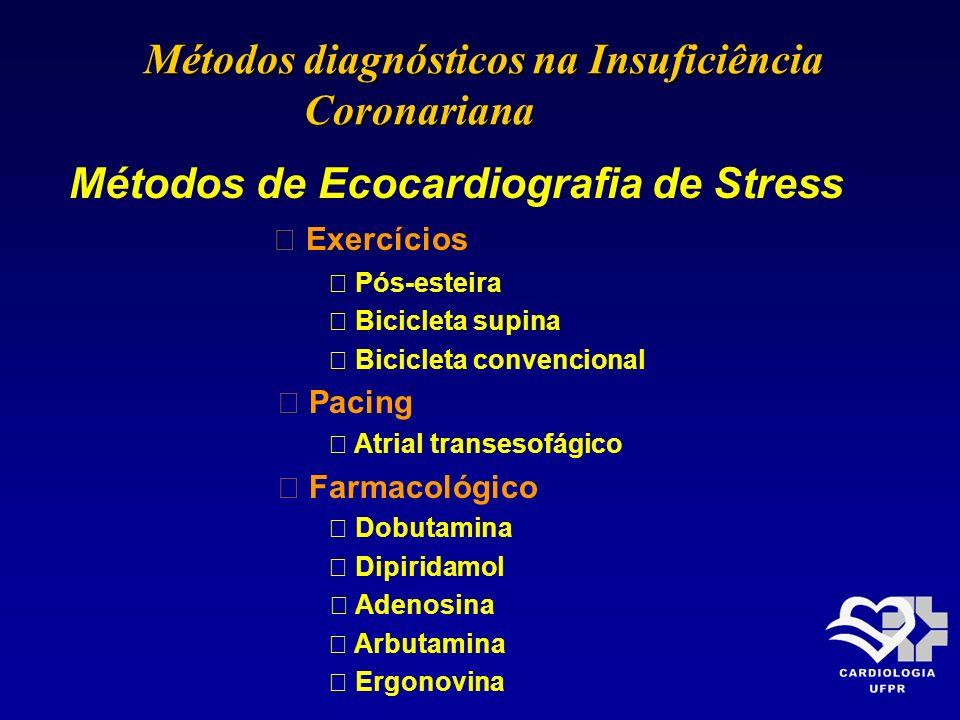 Métodos de Ecocardiografia de Stress Exercícios Pós-esteira Bicicleta supina Bicicleta convencional Pacing Atrial transesofágico Farmacológico Dobutam