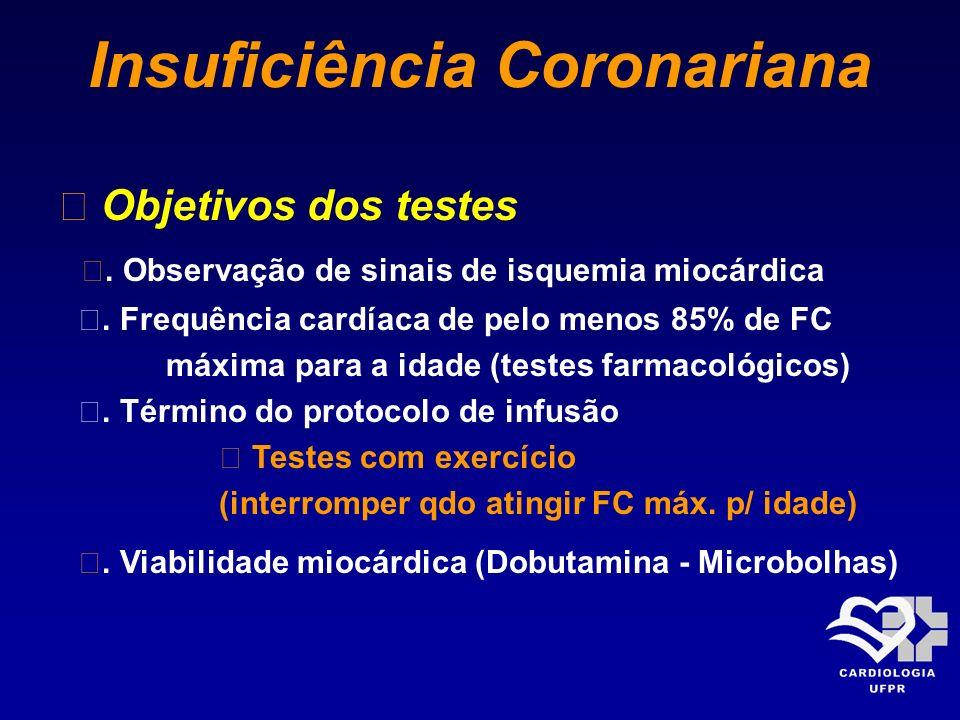 Insuficiência Coronariana Objetivos dos testes. Observação de sinais de isquemia miocárdica. Frequência cardíaca de pelo menos 85% de FC máxima para a