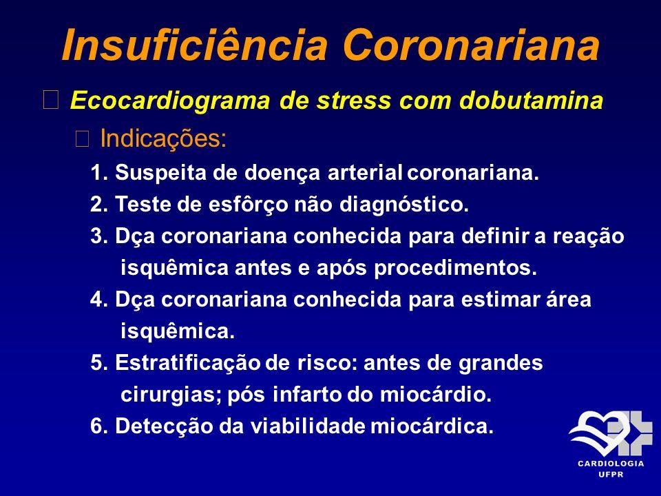 Insuficiência Coronariana Ecocardiograma de stress com dobutamina Indicações: 1. Suspeita de doença arterial coronariana. 2. Teste de esfôrço não diag