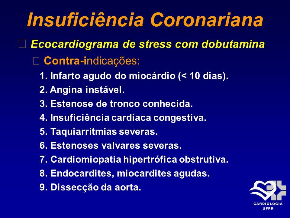 Insuficiência Coronariana Ecocardiograma de stress com dobutamina Contra-indicações: 1. Infarto agudo do miocárdio (< 10 dias). 2. Angina instável. 3.