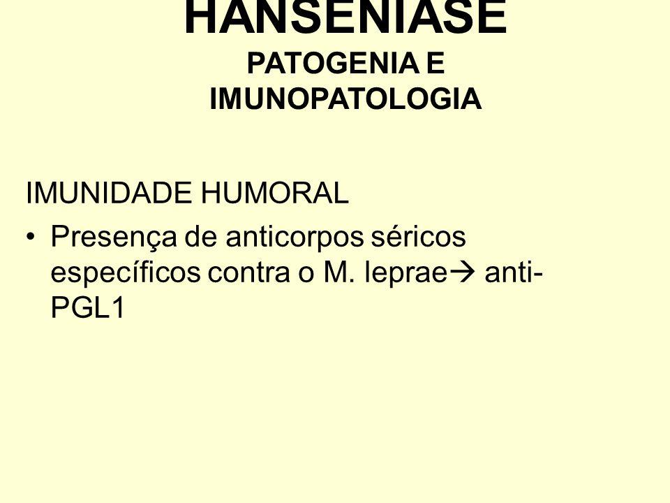 IMUNIDADE HUMORAL Presença de anticorpos séricos específicos contra o M. leprae anti- PGL1 HANSENÍASE PATOGENIA E IMUNOPATOLOGIA