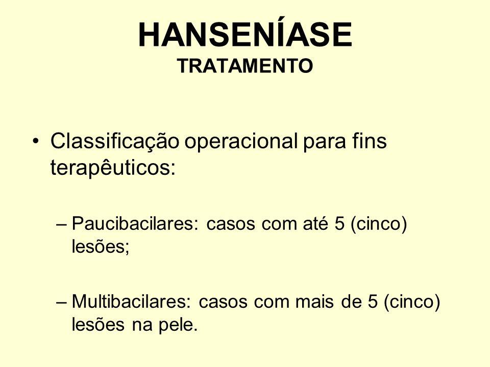 Classificação operacional para fins terapêuticos: –Paucibacilares: casos com até 5 (cinco) lesões; –Multibacilares: casos com mais de 5 (cinco) lesões