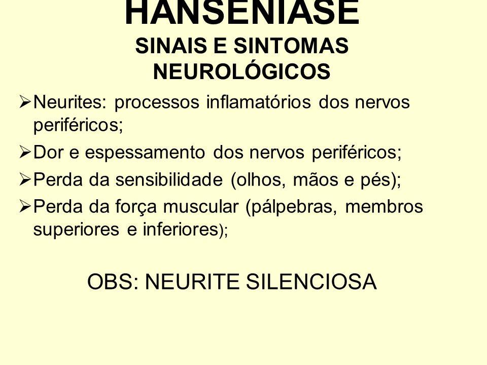 Neurites: processos inflamatórios dos nervos periféricos; Dor e espessamento dos nervos periféricos; Perda da sensibilidade (olhos, mãos e pés); Perda
