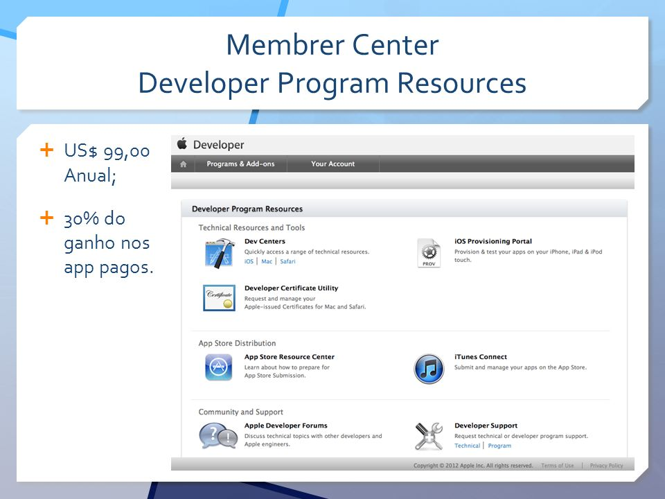 Membrer Center Developer Program Resources US$ 99,00 Anual; 30% do ganho nos app pagos.