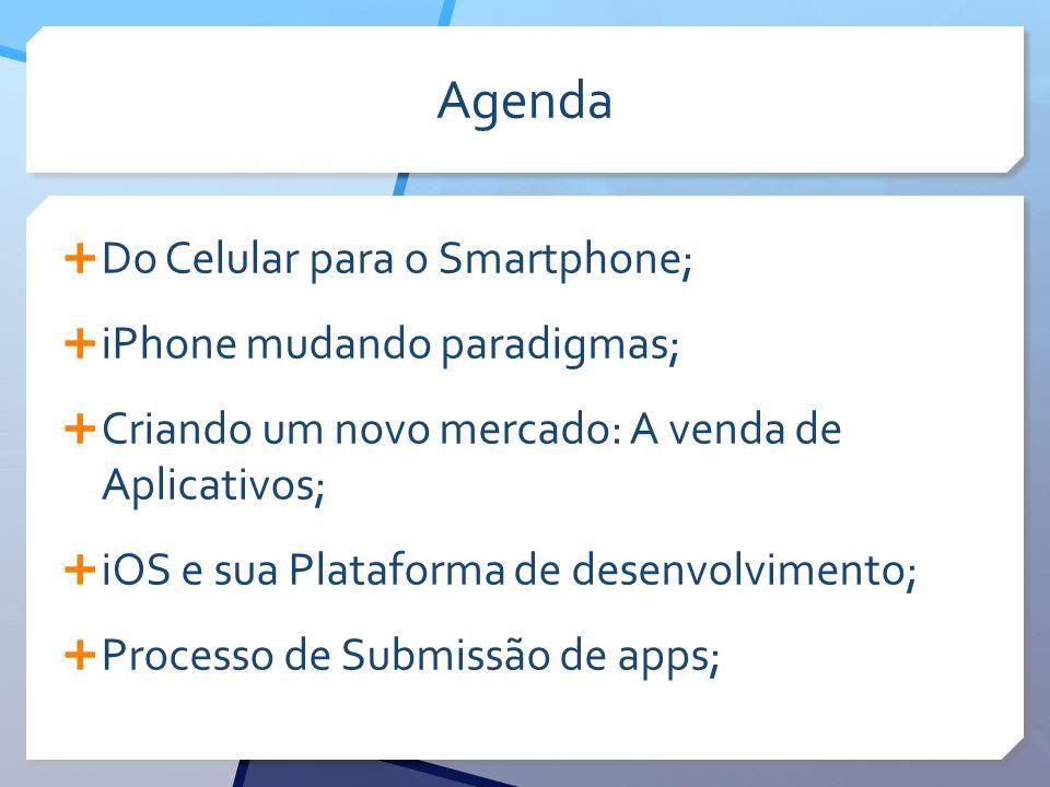 Agenda Do Celular para o Smartphone; iPhone mudando paradigmas; Criando um novo mercado: A venda de Aplicativos; iOS e sua Plataforma de desenvolvimento; Processo de Submissão de apps;