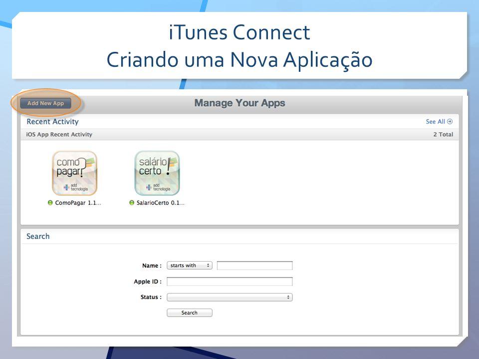 iTunes Connect Criando uma Nova Aplicação