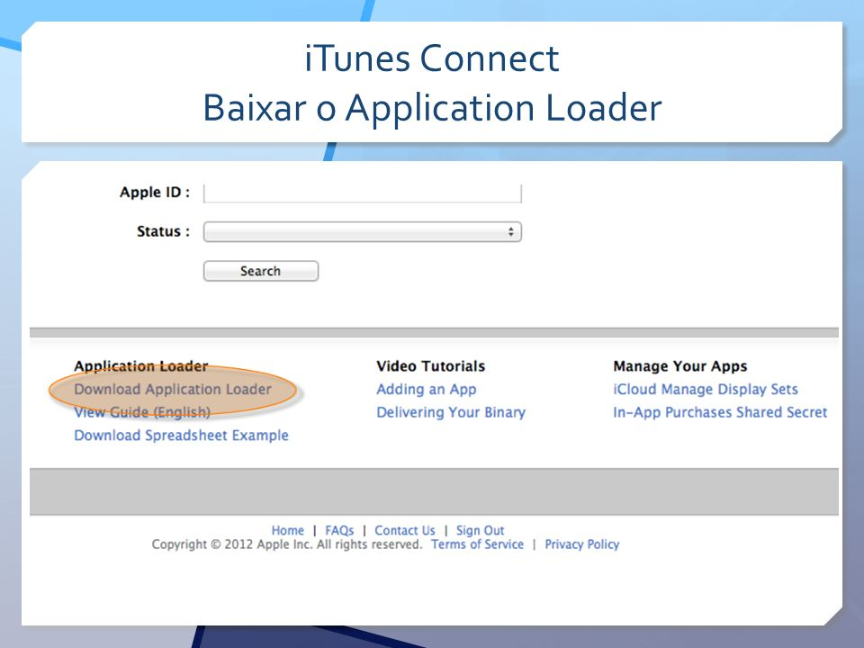 iTunes Connect Baixar o Application Loader