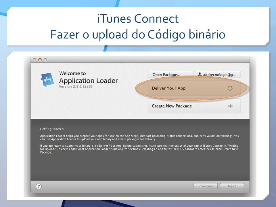 iTunes Connect Fazer o upload do Código binário