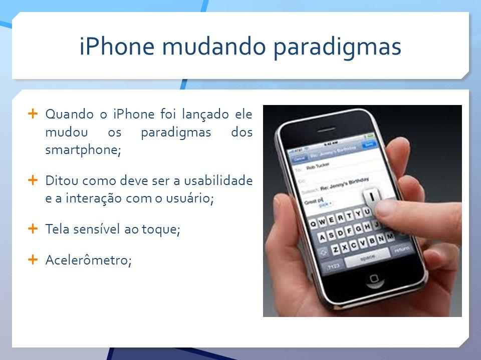 iPhone mudando paradigmas Quando o iPhone foi lançado ele mudou os paradigmas dos smartphone; Ditou como deve ser a usabilidade e a interação com o usuário; Tela sensível ao toque; Acelerômetro;
