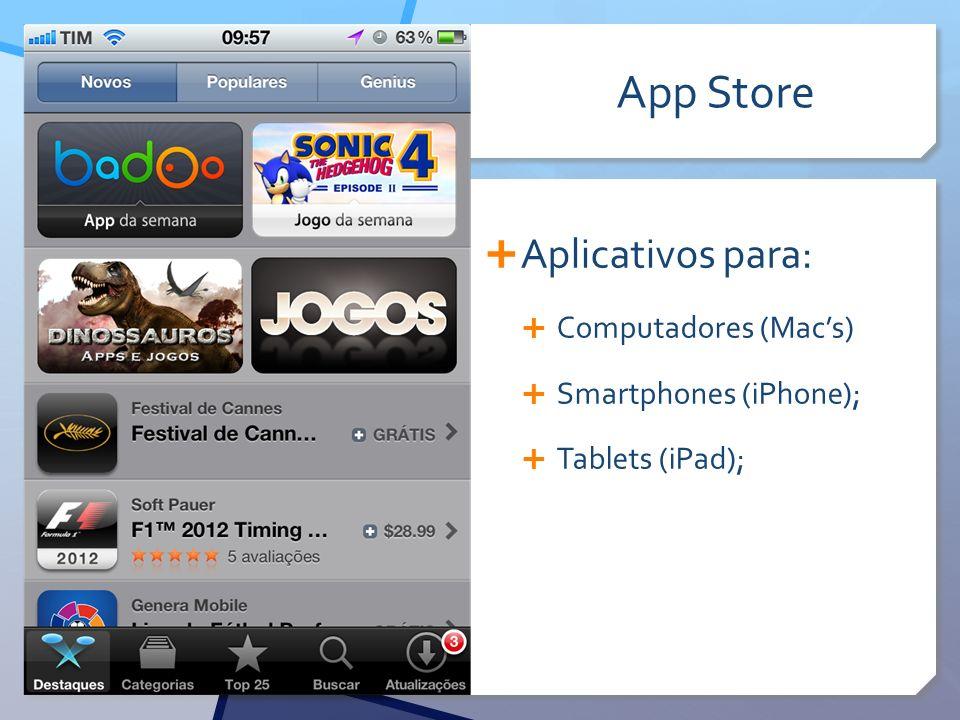 App Store Aplicativos para: Computadores (Macs) Smartphones (iPhone); Tablets (iPad);
