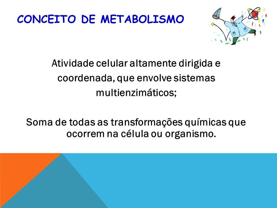 CONCEITO DE METABOLISMO Atividade celular altamente dirigida e coordenada, que envolve sistemas multienzimáticos; Soma de todas as transformações químicas que ocorrem na célula ou organismo.