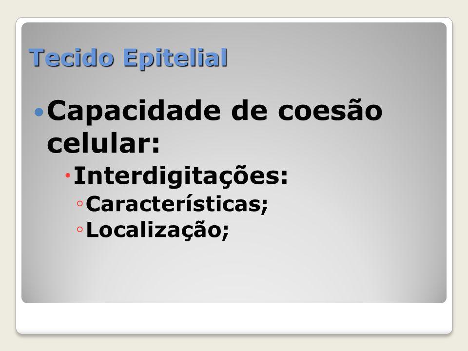 Capacidade de coesão celular: Interdigitações: Características; Localização;