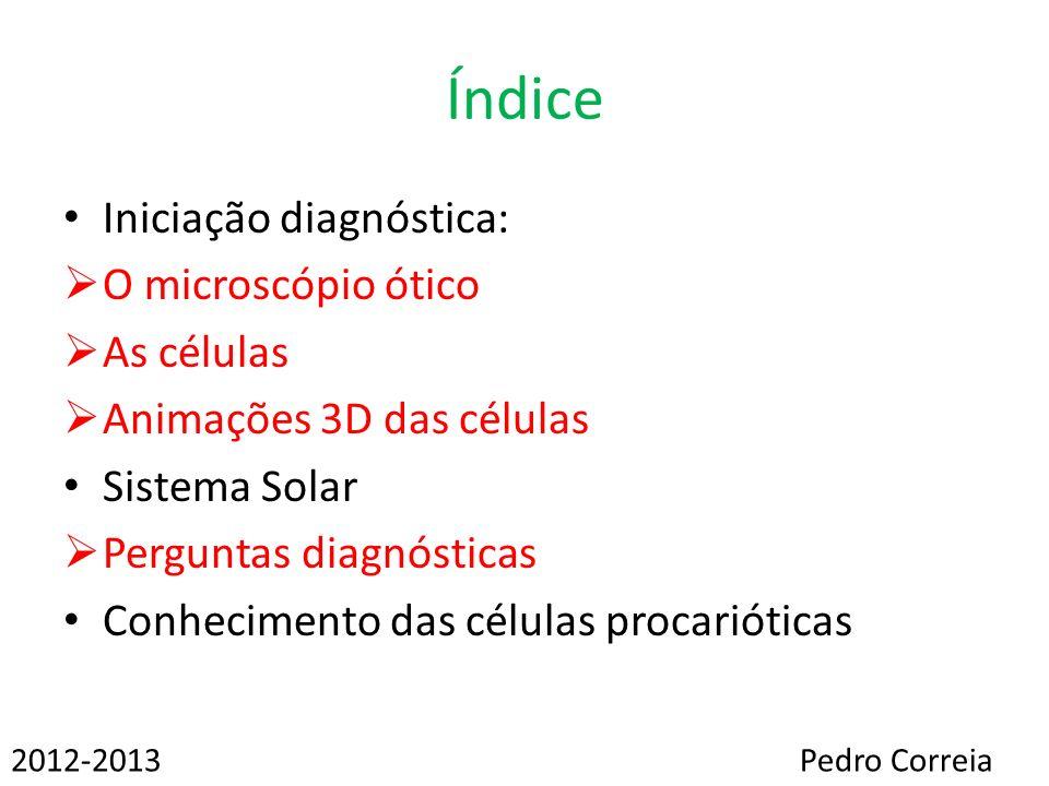 Índice Iniciação diagnóstica: O microscópio ótico As células Animações 3D das células Sistema Solar Perguntas diagnósticas Conhecimento das células pr