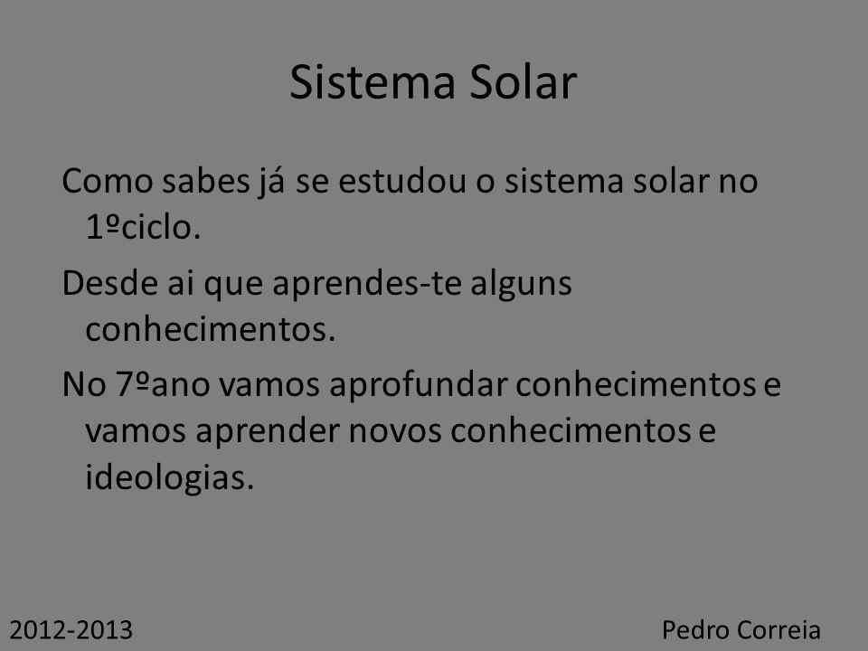 Sistema Solar Como sabes já se estudou o sistema solar no 1ºciclo. Desde ai que aprendes-te alguns conhecimentos. No 7ºano vamos aprofundar conhecimen