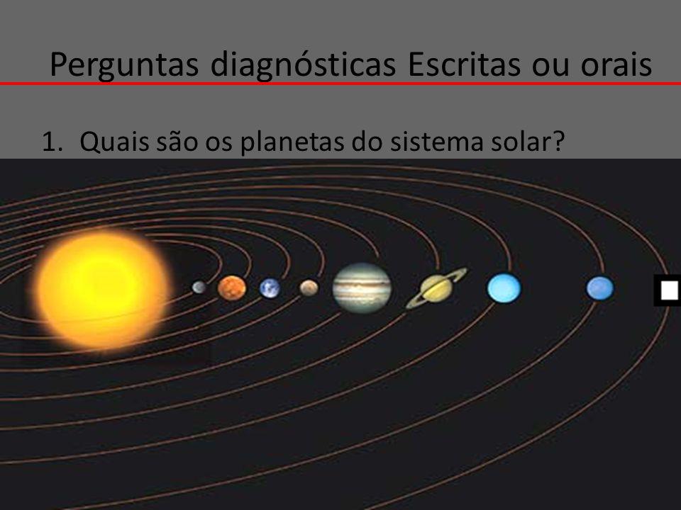 Perguntas diagnósticas Escritas ou orais 1.Quais são os planetas do sistema solar?