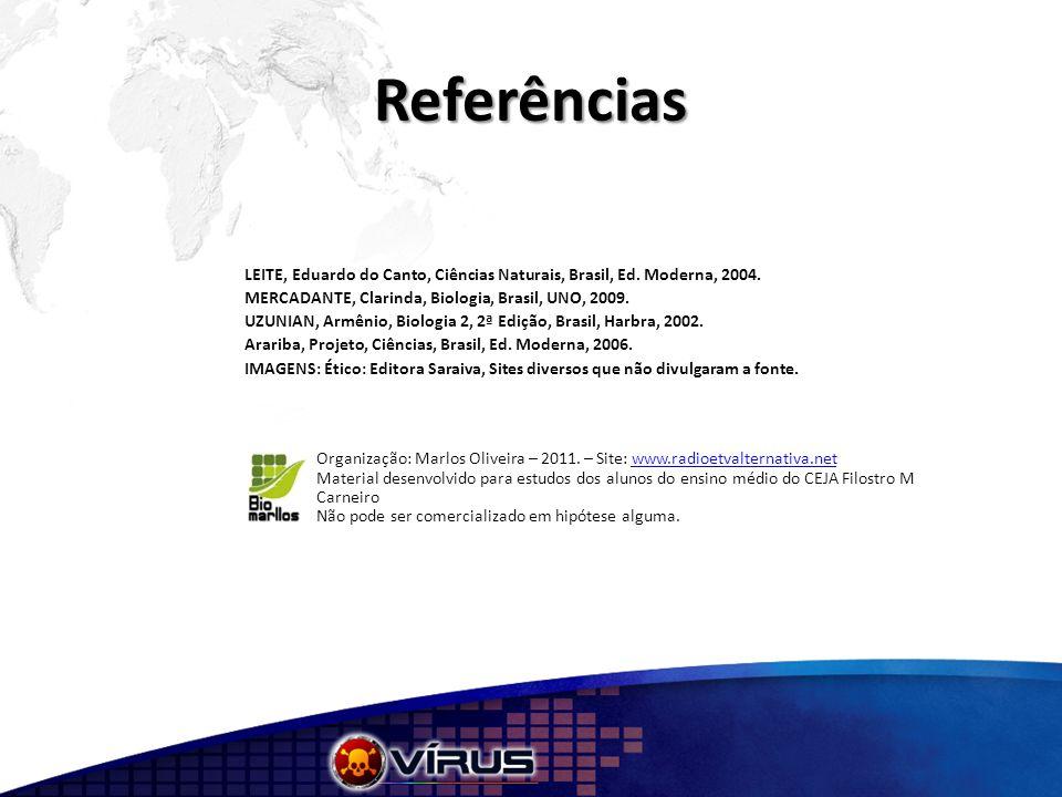Referências LEITE, Eduardo do Canto, Ciências Naturais, Brasil, Ed. Moderna, 2004. MERCADANTE, Clarinda, Biologia, Brasil, UNO, 2009. UZUNIAN, Armênio