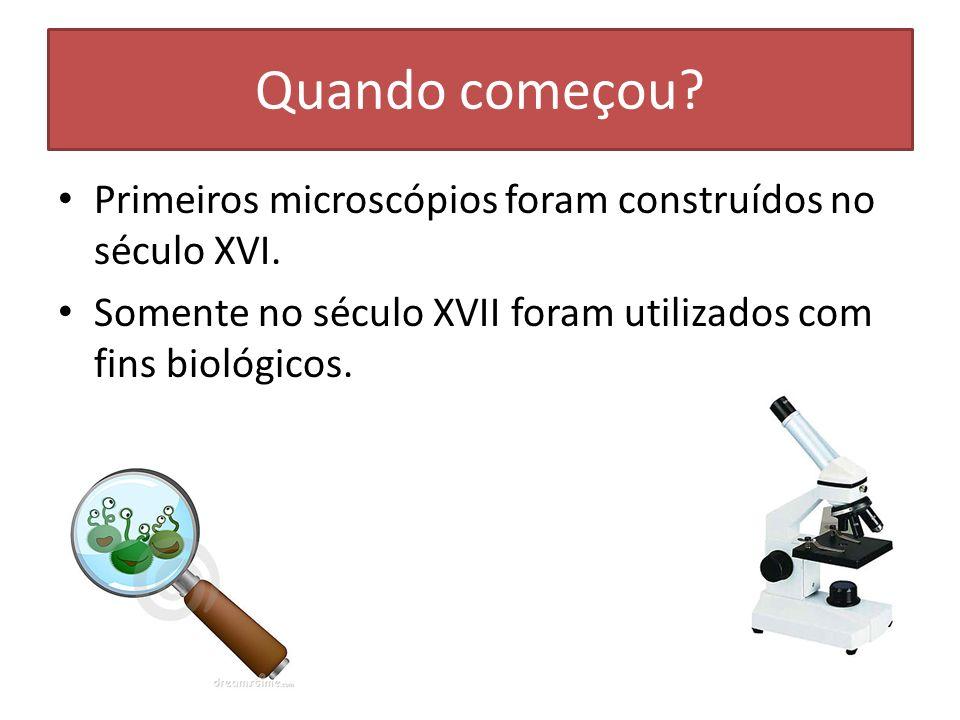 Quando começou? Primeiros microscópios foram construídos no século XVI. Somente no século XVII foram utilizados com fins biológicos.