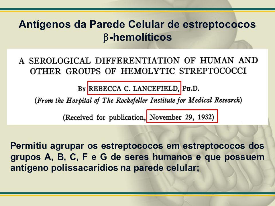 Antígenos da Parede Celular de estreptococos -hemolíticos Permitiu agrupar os estreptococos em estreptococos dos grupos A, B, C, F e G de seres humano