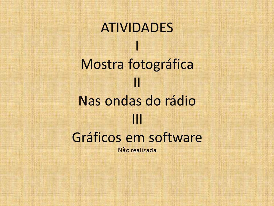ATIVIDADES I Mostra fotográfica II Nas ondas do rádio III Gráficos em software Não realizada