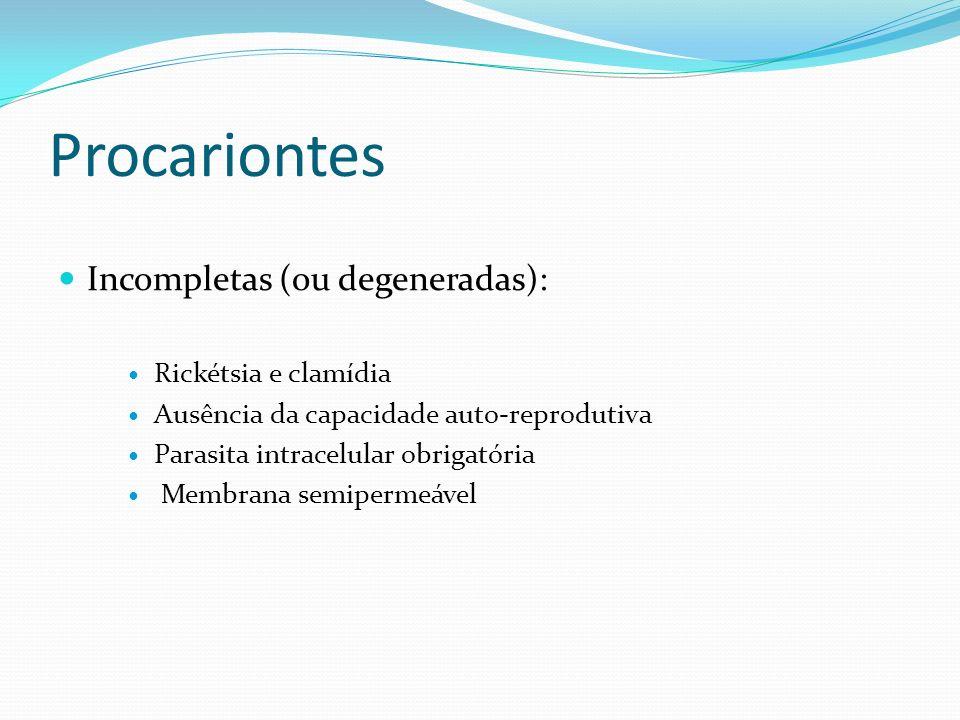 Procariontes Incompletas (ou degeneradas): Rickétsia e clamídia Ausência da capacidade auto-reprodutiva Parasita intracelular obrigatória Membrana sem