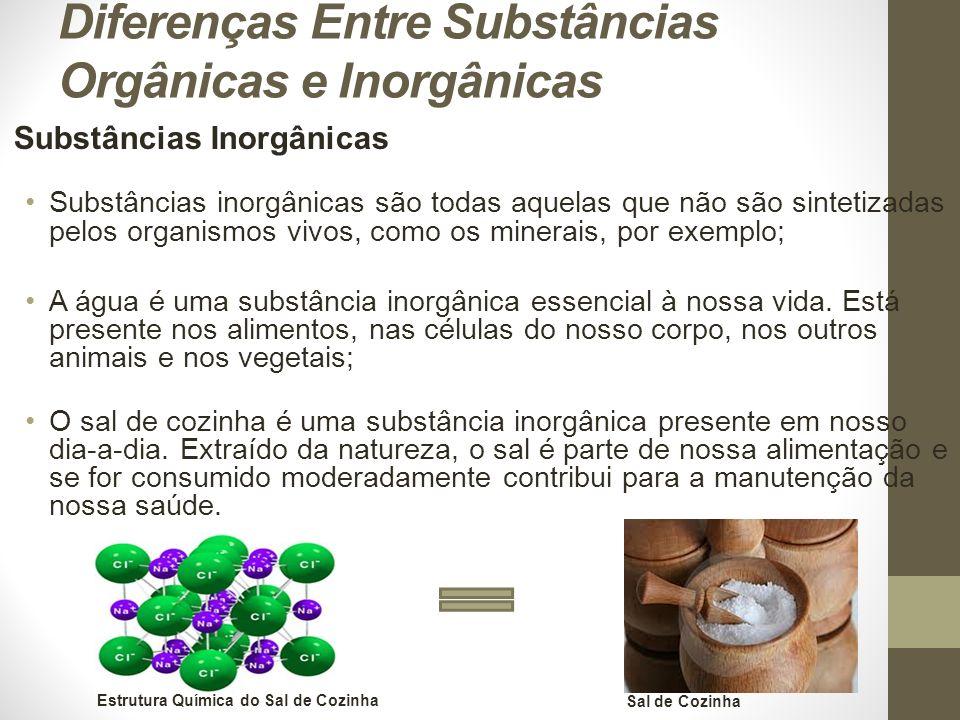 Diferenças Entre Substâncias Orgânicas e Inorgânicas Substâncias Inorgânicas Substâncias inorgânicas são todas aquelas que não são sintetizadas pelos organismos vivos, como os minerais, por exemplo; A água é uma substância inorgânica essencial à nossa vida.